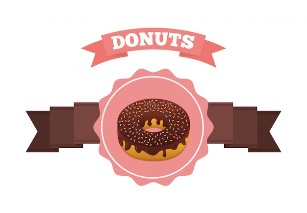 Sweet donuts label with ribbon