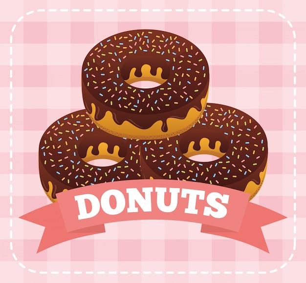 Сладкие пончики на розовом в квадрате