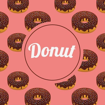 Sweet donuts seamless pattern with circle frame