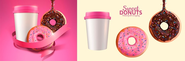 Sweet donuts and take out coffee banner in 3d style