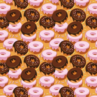 Sweet doughnut seamless pattern design