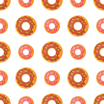 Sweet doughnut seamless pattern in flat design