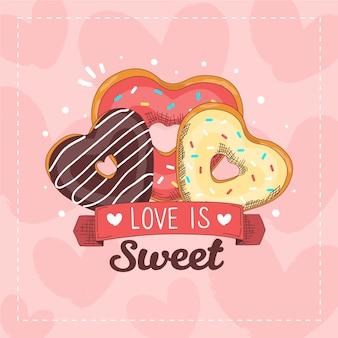 Сладкие пончики фон концепция