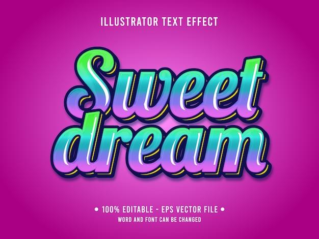 달콤한 꿈 편집 가능한 텍스트 효과 그라데이션 녹색 핑크 색상으로 3d 간단한 스타일