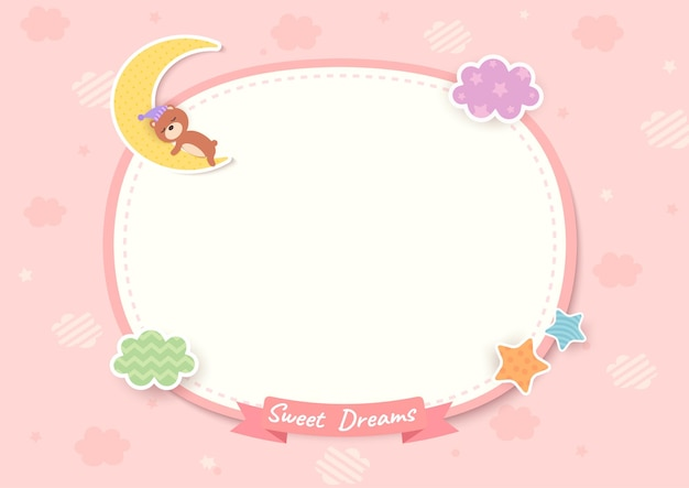Sweet dream frame with teddy bear sleeping on pink background