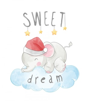 Sweet dream slogan with little elephant sleeping on the cloud