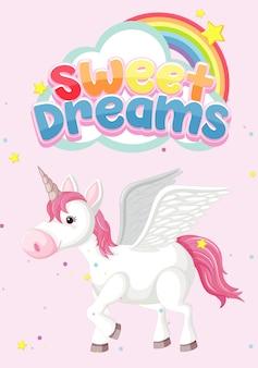 ピンクの背景のユニコーンと甘い夢のシンボル