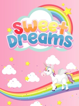 ピンクの背景にユニコーンと甘い夢のシンボル
