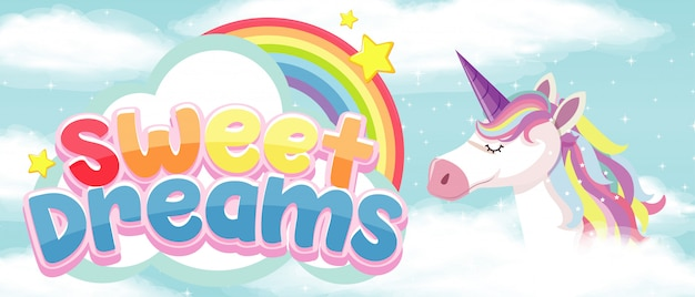 Sweet dream symbol with unicorn on sky background