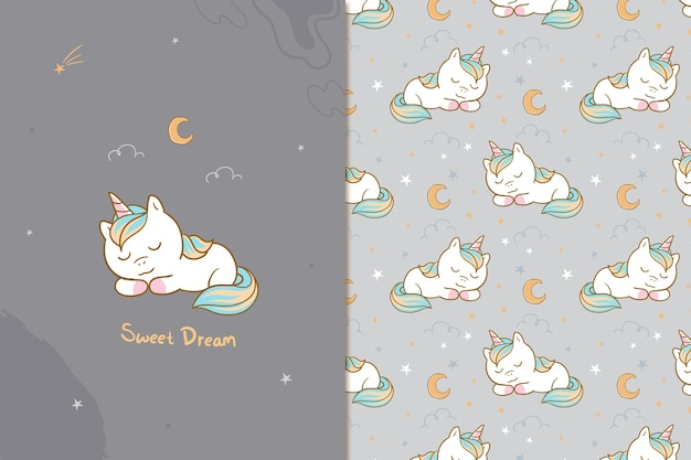 Sweet dream unicorn seamless pattern