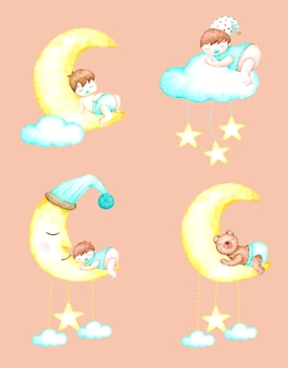 Sweet dreams baby with hand drawn watercolour for nursery and kids