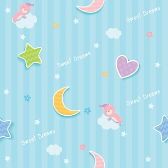 Sweet dreams blue seamless pattern