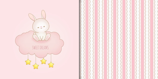 Sweet dreams bunny on a cloud and seamless pattern