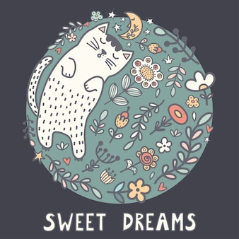 Sweet dreams card with a cute sleeping cat in the plants