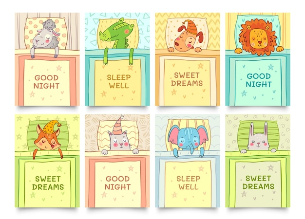 잠자는 동물 세트와 함께 달콤한 꿈 카드입니다. 동물의 잠은 달콤하고 토끼는 꿈을 꾸고 악어는 잠을 자고 있습니다. 벡터 일러스트 레이 션