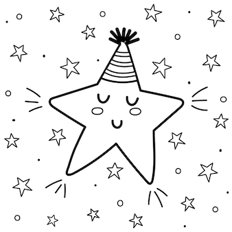 Sweet dreams coloring page with a cute sleeping star. black and white fantasy background. good night print for coloring book for kids.  illustration