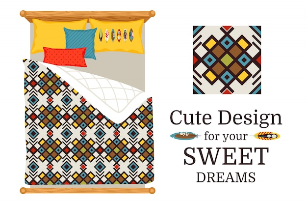 Sweet dreams deisgn bed sheets with decorative geometric ornamental pattern, and pattern piece, vector illustration
