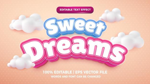 Sweet dreams editable text effect cute cartoon 3d template style