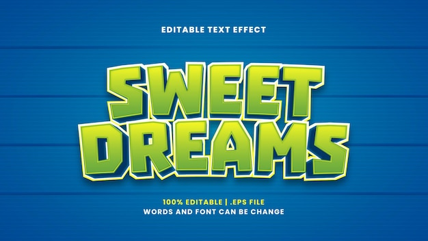 Редактируемый текстовый эффект сладких снов в современном 3d стиле