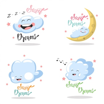 Sweet dreams hand drawn lettering set isolated white