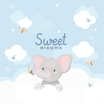 Sweet dreams illustration with cute little elephant on the clouds.