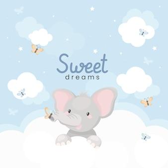 雲の上のかわいい象と甘い夢のイラスト。