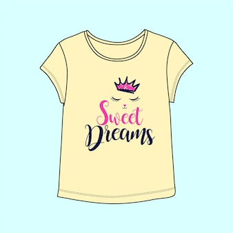 Sweet dreams illutration with t-shirt
