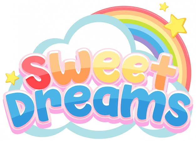 Sweet dreams logo in pastel color with cute rainbow  and little star