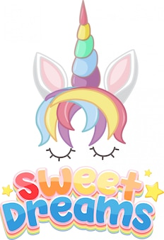 Sweet dreams logo in pastel color with cute unicorn