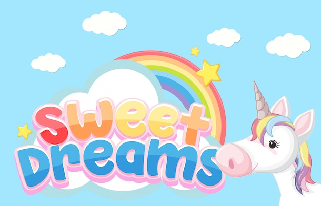 Sweet dreams logo in pastel color with unicorn
