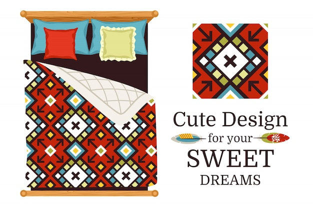 Sweet dreams ornamental pattern sample and bed sheets as an example, vector illustration