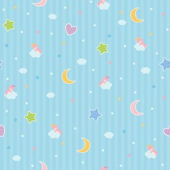 Sweet dreams seamless pattern design with sleeping bear on moon.