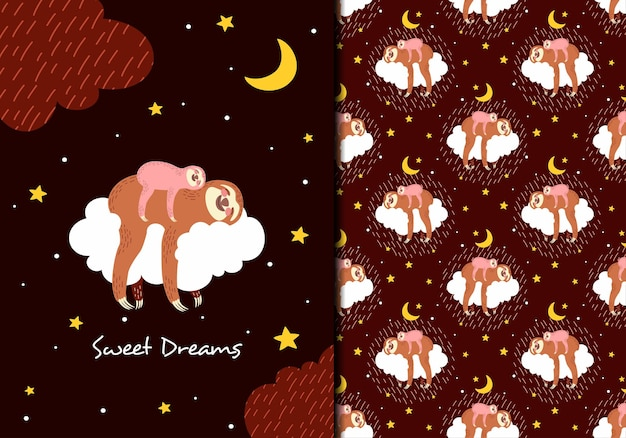 Sweet dreams sloth seamles pattern