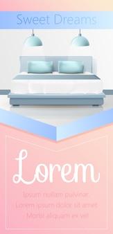 Sweet dreams vertical banner, bedroom interior