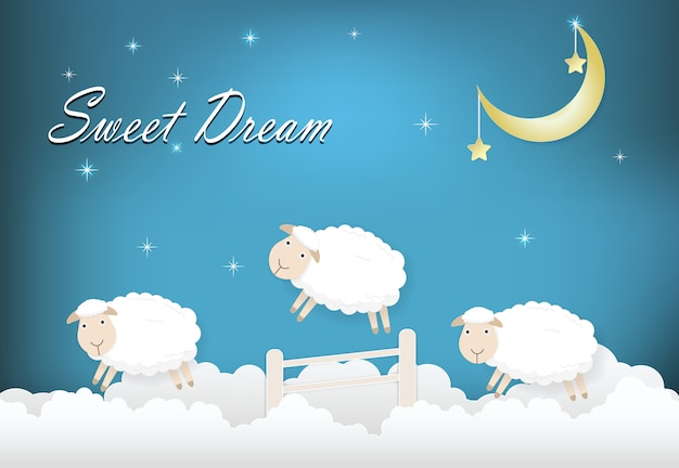 Sweet drean text with sheep jumping on cloud