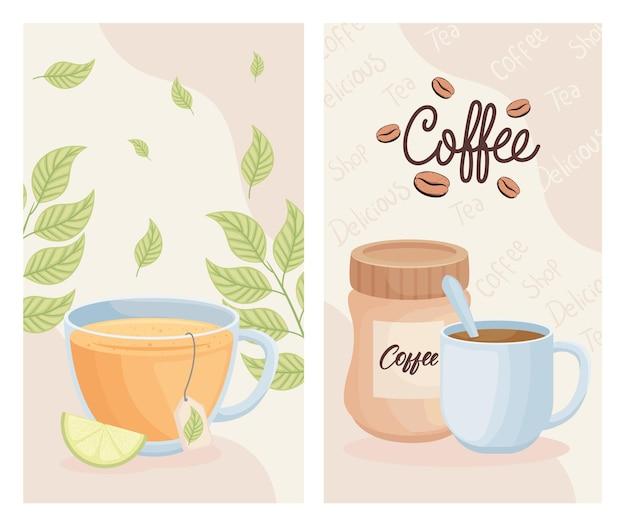 Сладкие напитки утром набор иконок
