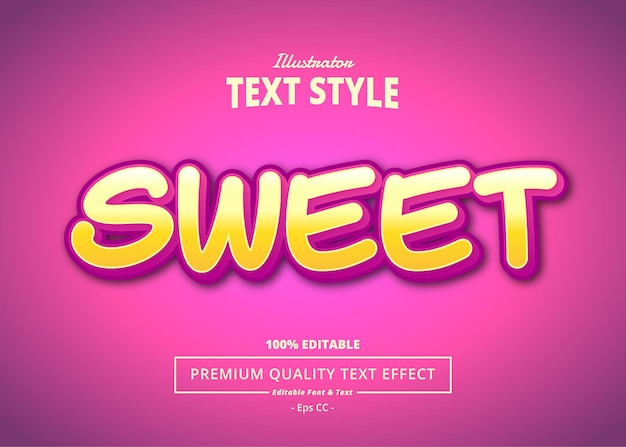 Sweet editable text effect