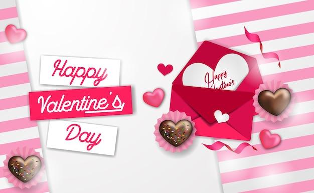 Сладкое любовное письмо в конверте с реалистичной сердечной любовью для шаблона поздравления с днем святого валентина