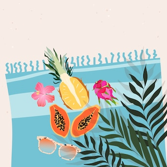 Sweet exotic tropical fruits, flowers and sunglasses laying on the beach towel. summertime concept. trendy illustration for web banner, greeting card, invitation design.