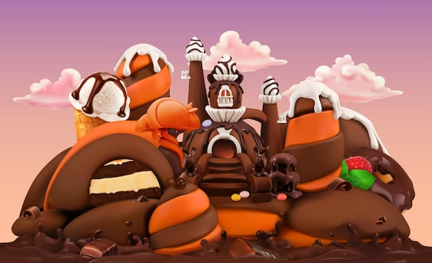 Sweet factory. chocolate castle 3d vector cartoon illustration. plasticine art