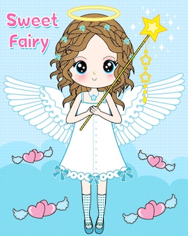 Sweet fairy with magic stick
