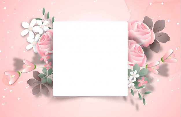 Sweet floral frame with copyspace