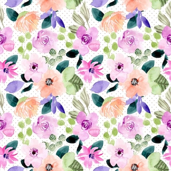 Sweet floral watercolor and dot seamless pattern