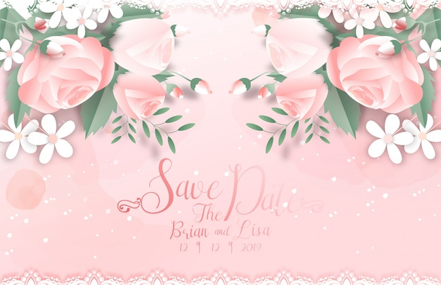 Sweet floral wedding card template