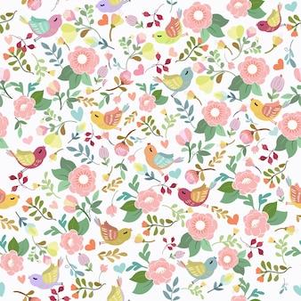 甘い花と鳥のシームレスなパターン。