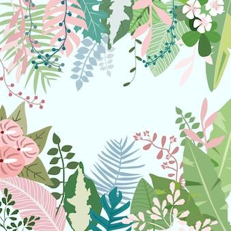 달콤한 꽃과 식물 열 대 숲에서 잎.