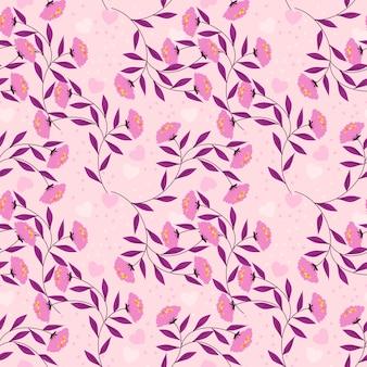 甘い花とピンクの小さな心のシームレスなパターン。