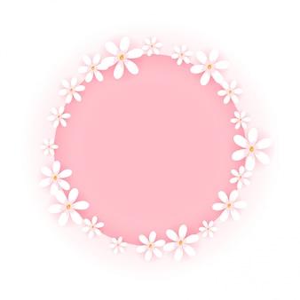 白い背景で隔離の甘い花のフレーム。