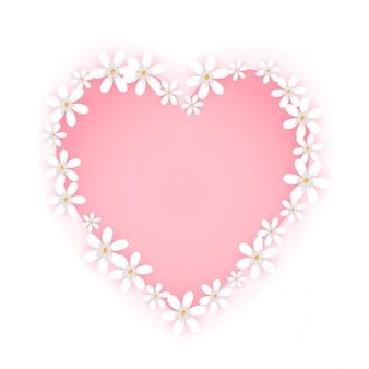 甘い花のフレームが分離されました。かわいい白い花のボーダーとピンクのハートのバッジの形。