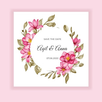 Сладкий цветок розовая акварель рамка свадебное приглашение